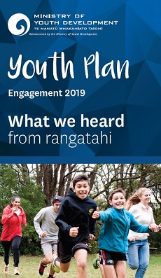 Image with text reading Youth Plan Engagement 2019 What we heard from rangatahi and photo of young people running